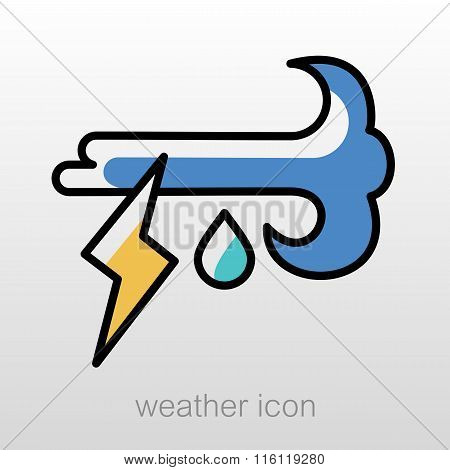 Wind Rain Lightning Icon. Meteorology. Weather