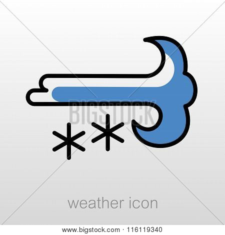 Wind Snow Snowstorm Icon. Meteorology. Weather