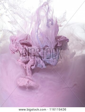 Background Of Pink Acrylic Paint In Water..