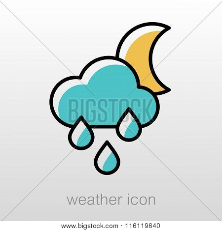 Rain Cloud Moon Icon. Meteorology. Weather