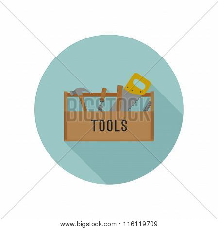Tools box flat icon.