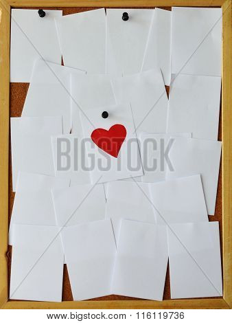 paper paint red heart on notice board