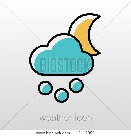 Moon Cloud Snow Grain Icon. Meteorology. Weather