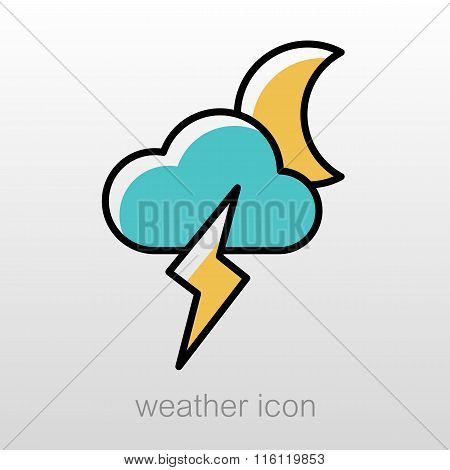Moon Cloud Lightning Icon. Meteorology. Weather