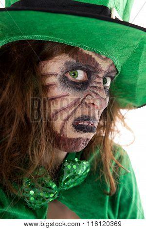 Portrait Of An Irish Leprechaun Girl, Concept St. Patrick´s Day
