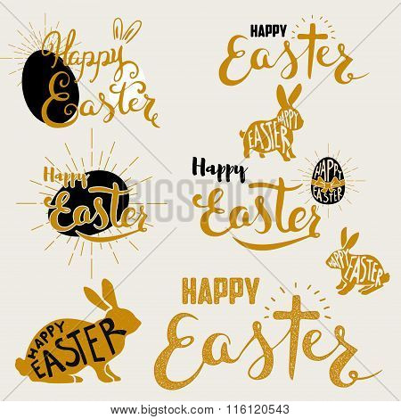 Happy Easter. Set Of Labels And Design Elements