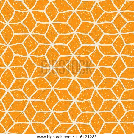 Vector Seamless Yellow White Color Hand Drawn Distorted Lines Star Shape Grunge Retro Pattern