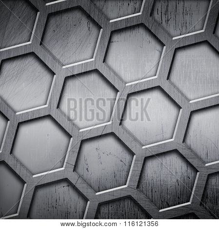 Metal  Background With Hexagons