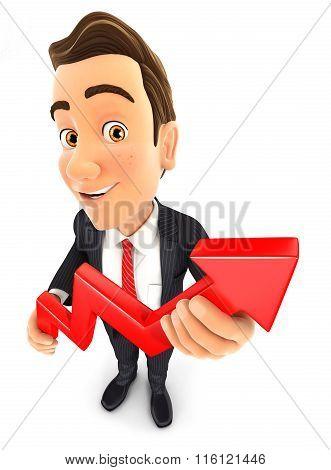 3d businessman holding a growing curve