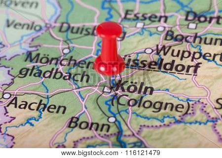 Close Up Of Cologne Map With Red Pin - Travel Concept