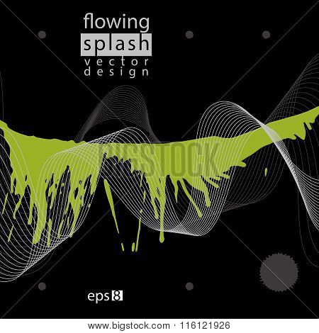 Splattered Web Design Element, Art Ink Blob, Green Paintbrush Drawing With Flowing Lines. Contrast