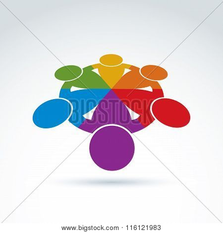Teamwork And Business Team And Friendship Icon, Social Group, Organization, Vector Conceptual Unusua