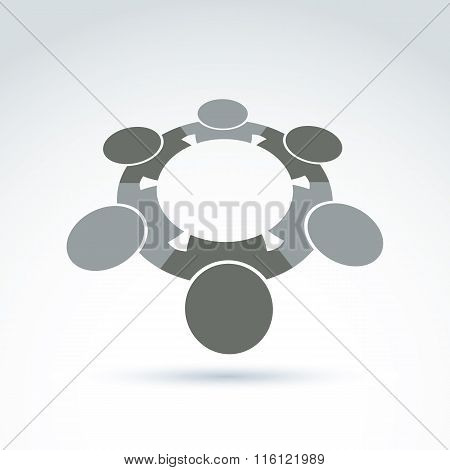 Vector Illustration Of Silhouettes Of People Standing In Circle - Teamwork Concept.  Cooperating Tea