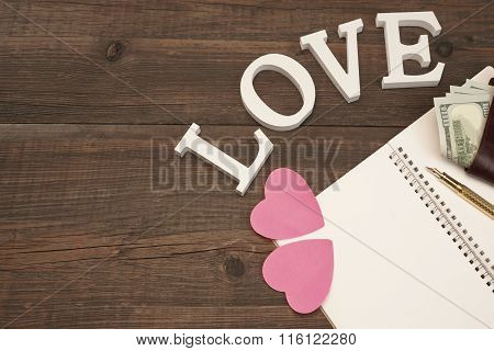 Blank Spiral Notepad Page,  Hearts, Wallet On Wood Table Background