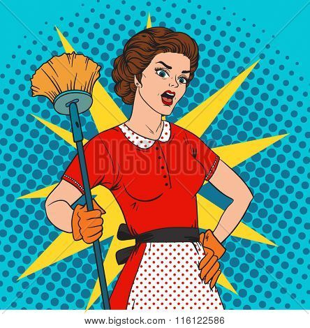 Pop Art woman comic style attack bacteria. Cleaning war vector illustration. Pop art style housewife strong girl. Domestic, kitchen, cleaning service