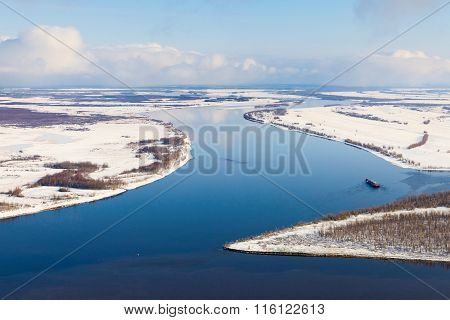 Ship On The River In Winter, Top View