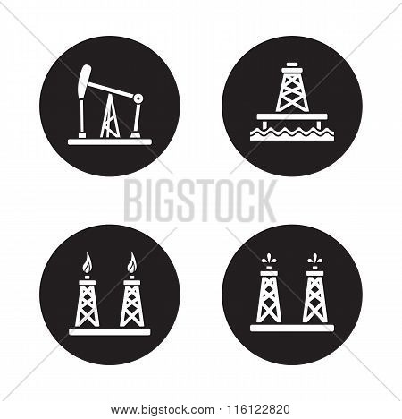 Oil drilling black icons set