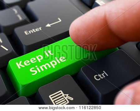 Keep It Simple Concept. Person Click Keyboard Button.