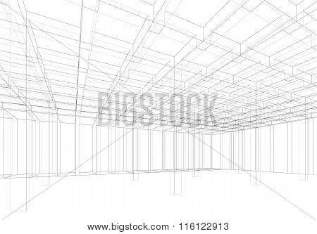 Digital Background, Empty 3D Room Interior Mesh