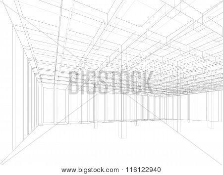 Digital Background, Empty 3D Interior Structure