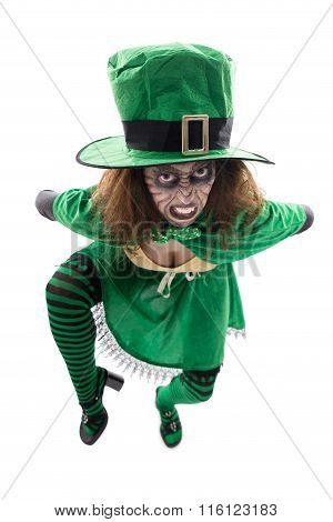Madly Leprechaun, Isolated On White, Concept St. Patrick´s Day Or Halloween