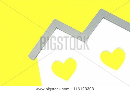 White Home Shape With Two Yellow Heart Shape Window