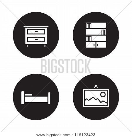 Bedroom furniture black icons set