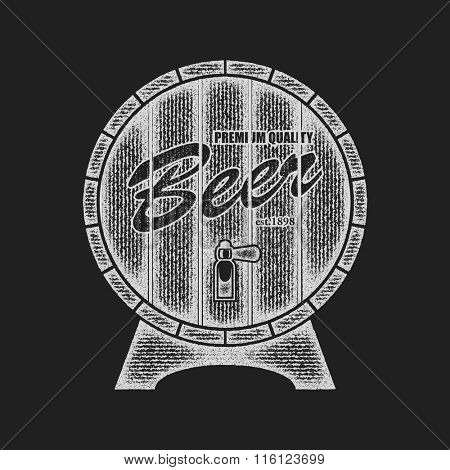 Beer barrel. Vector illustration in grunge style. Element for your design.