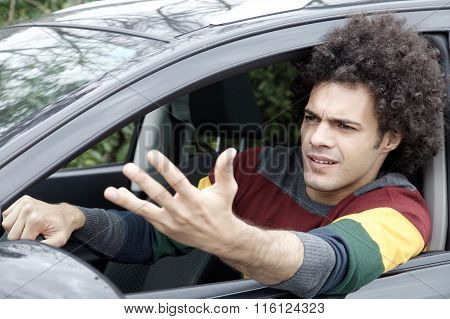 Man Stuck In Traffic Angry Driving Car