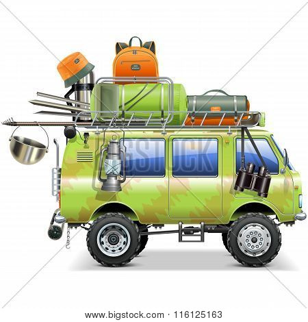 Vector Travel Car With Camping Accessories