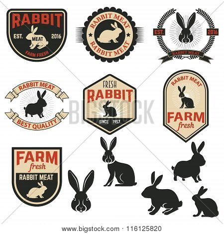 Set Of Rabbit Meat Labels, Badges And Design Elements.