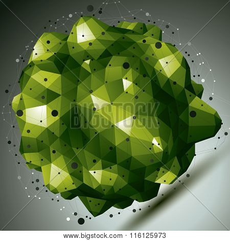 Complicated Abstract green 3D Shape, Vector Digital Lattice Object. Technology Theme.