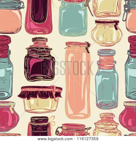 Mason jars. Retro seamless pattern with set of glass jars. Vintage hand drawn vector illustration