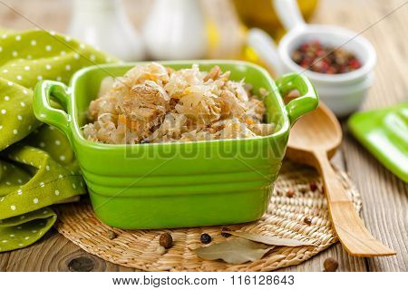 braised bigos with sour cabbage and meat
