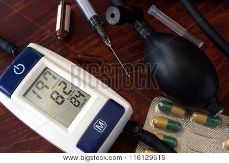 Blood pressure meter showing a high level of blood pressure