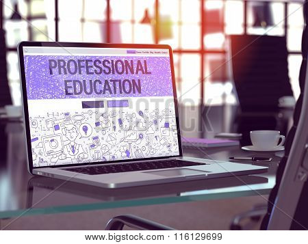 Professional Education on Laptop in Modern Workplace Background.