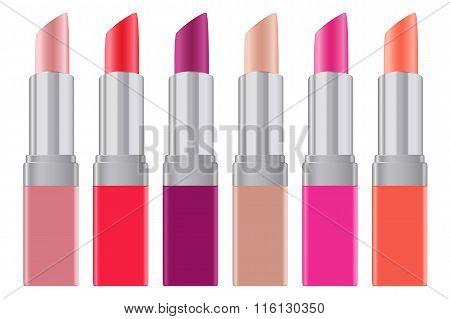Lipstick Palette Lip Gloss Set Realistic Bright Silver Tubes