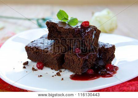 Beautiful chocolate cake with fresh berry .