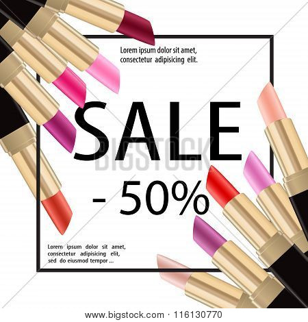 Lipstick Sale Paper Baner Cosmetics Poster