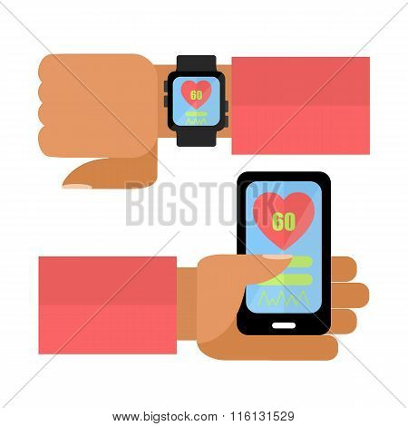 Hands With Smart Phone And Watch.