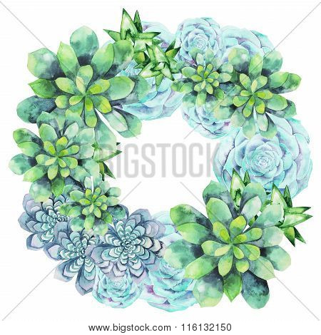 Watercolor succulent wreath