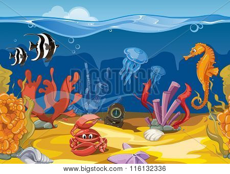 Seamless underwater landscape in cartoon style. Vector illustration