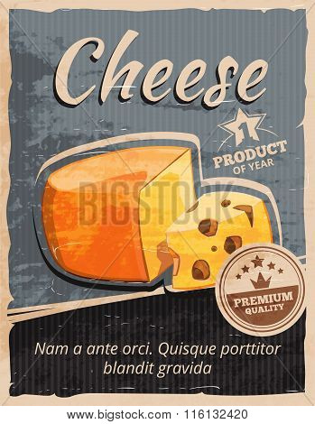 Vintage cheese vector poster