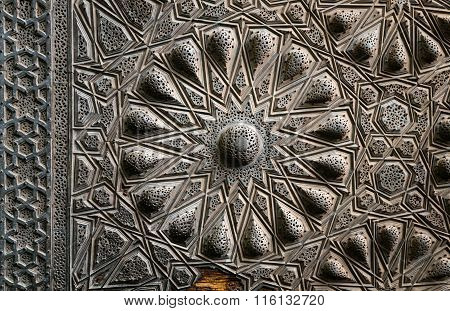 Geometrical Brass Decorations Of An Ancient Historic Door, Cairo, Egypt