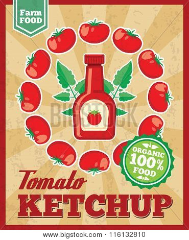 Tomato ketchup retro vector background