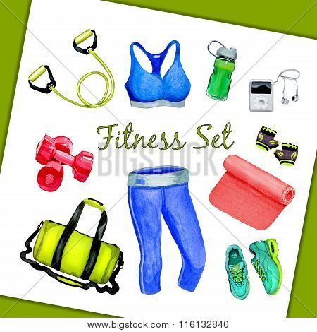 Fitness Set Watercolor Style Illustration