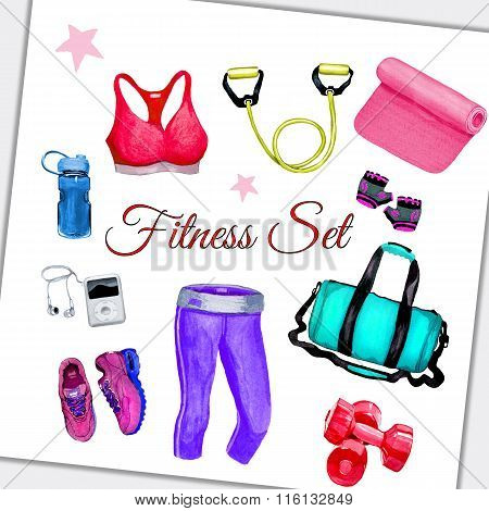 Fitness Collection Watercolor Style