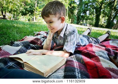 Smiling Boy Reading A Book While Lying On A Mat In The Park