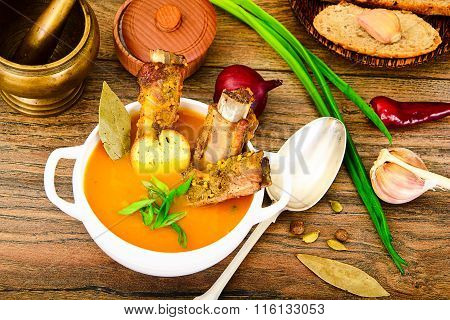 Diet and Healthy Organic Food: Pumpkin Soup with Pork Ribs