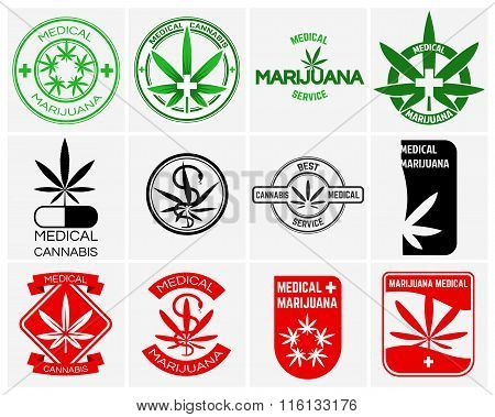 Medical marijuana or cannabis vector logos, labels and emblems set